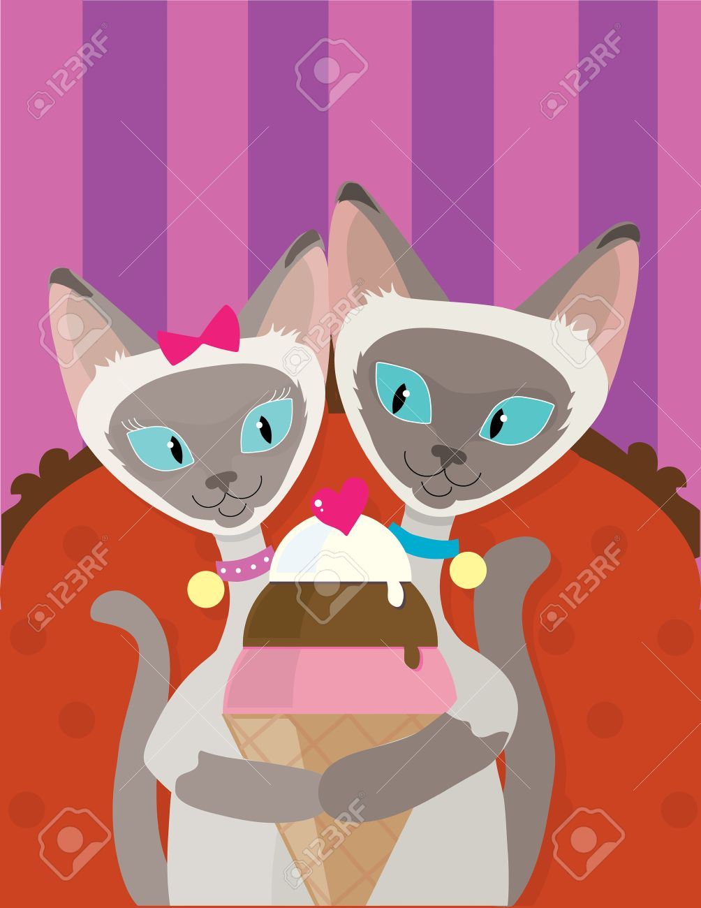 A pair of Siamese Cats are enjoying an ice cream cone together - 54129259