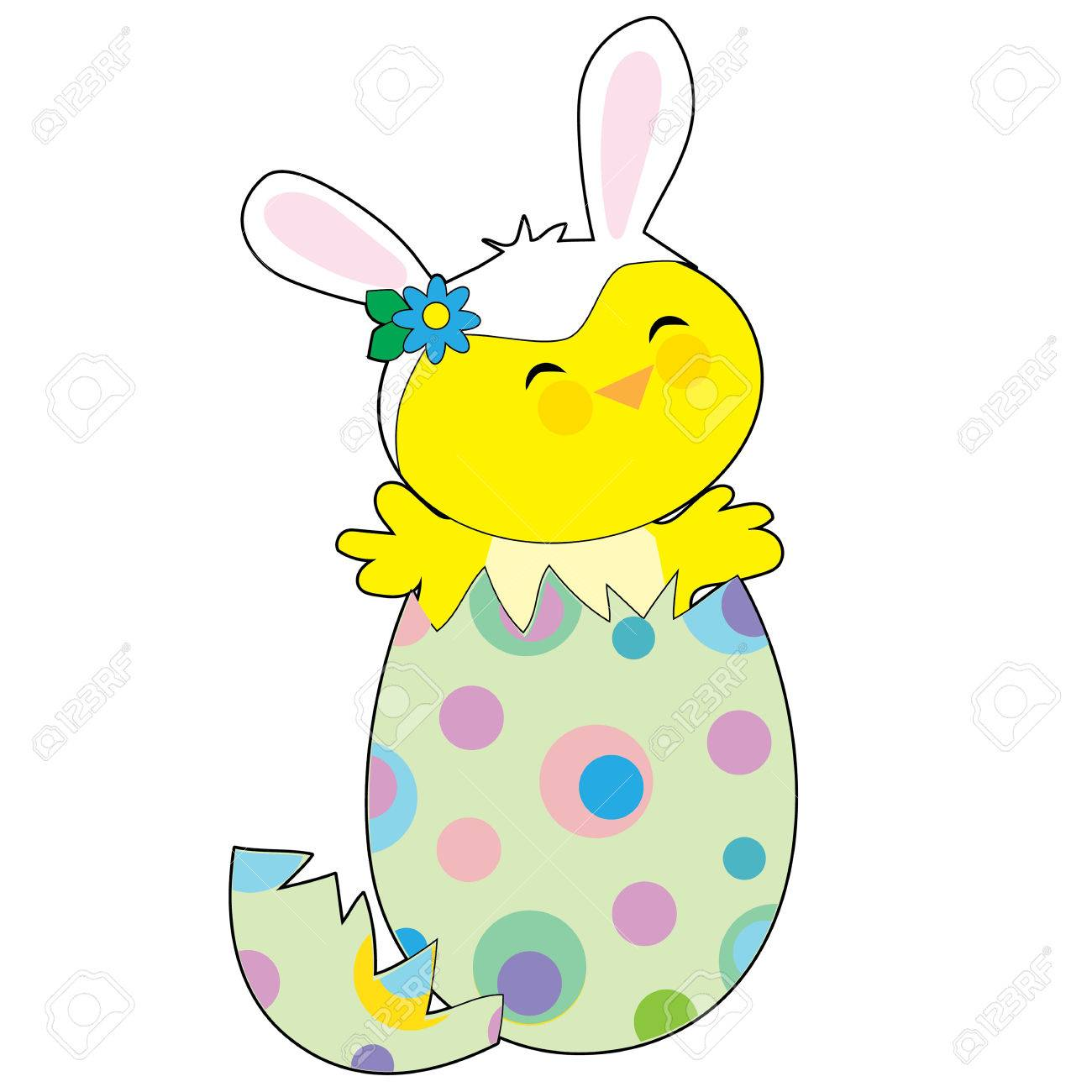A little chick popping out of a spotted Easter egg wearing a hat with bunny ears - 54672194
