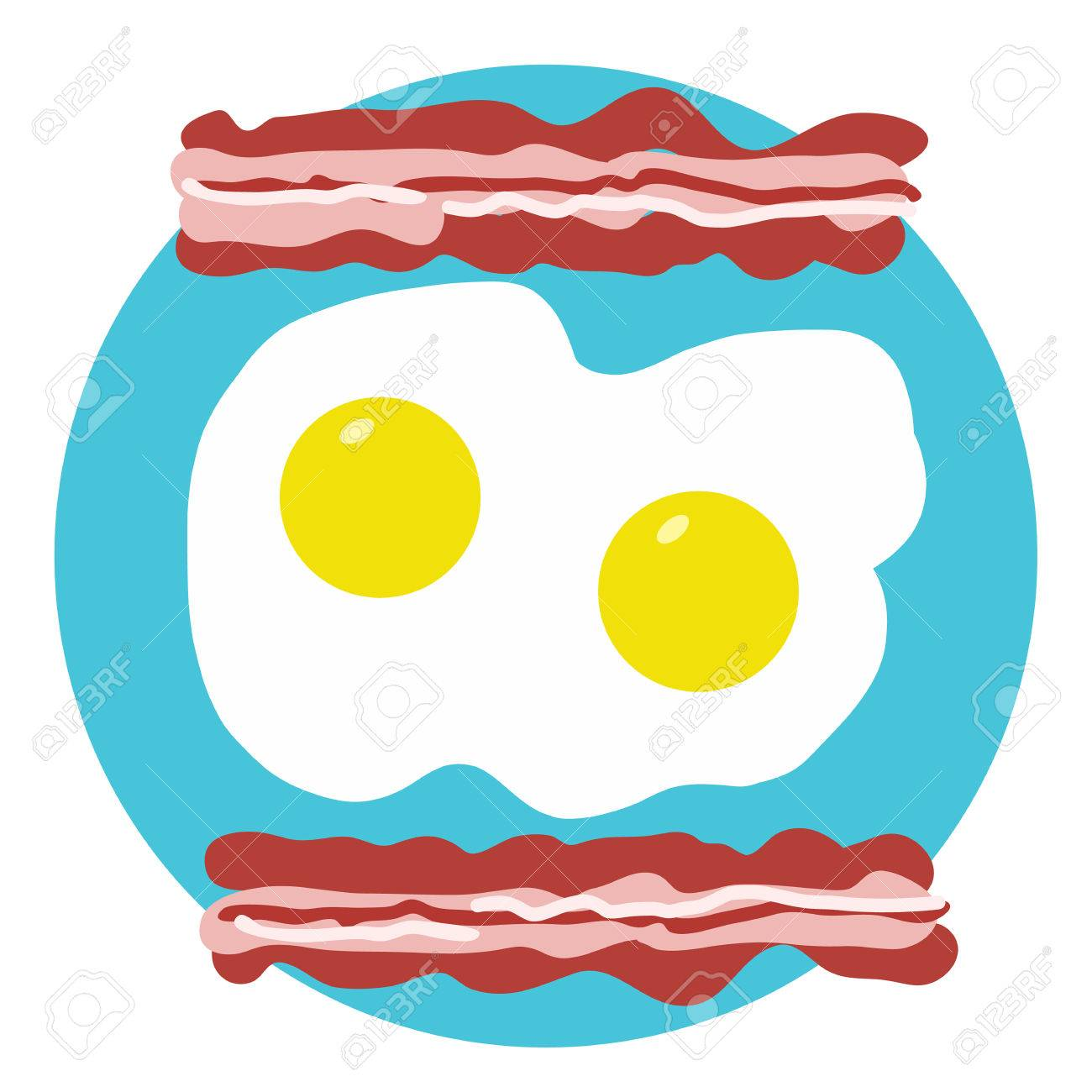 A stylized design of bacon and eggs on a turquoise circle background - 55361453