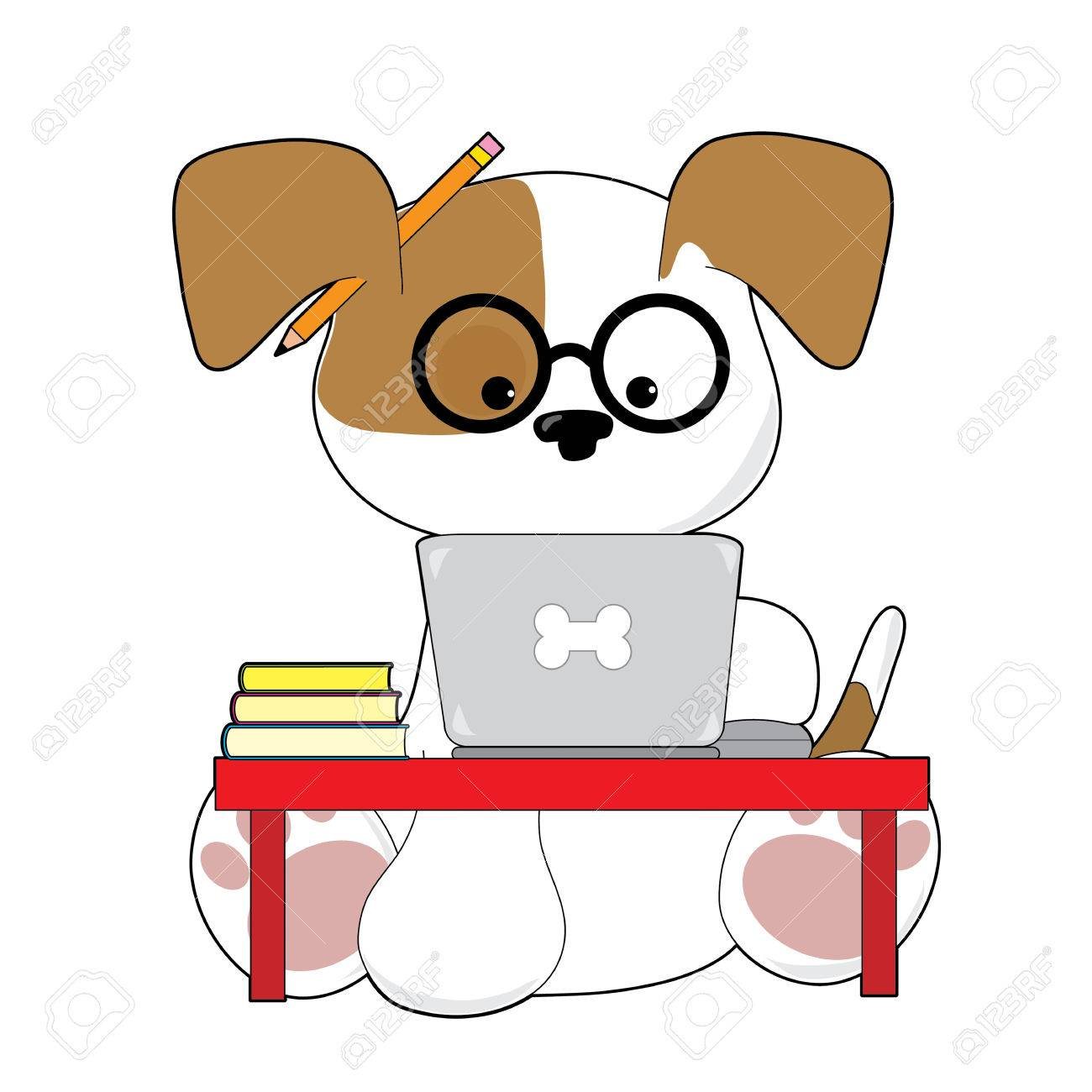 An adorable puupy is sitting at a laptop wearing glasses and has a pencil by his ear - 57152953