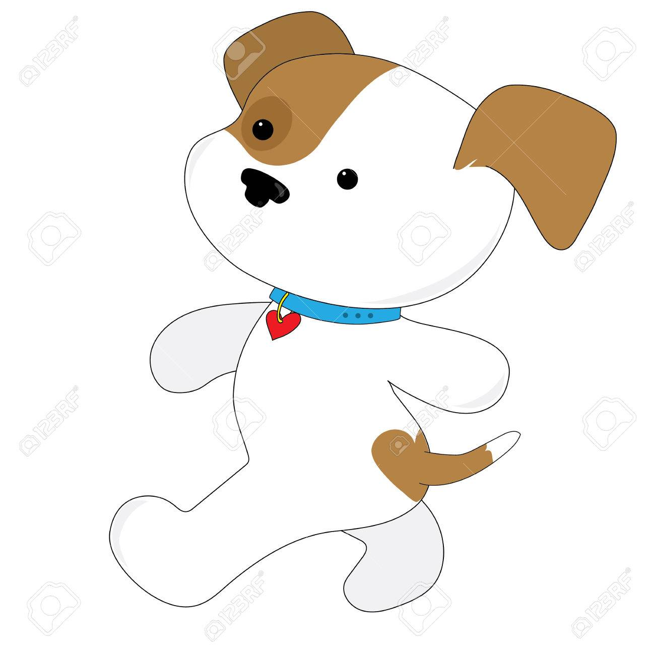 A brown and white cute puppy with a heart on its bum is gong for a walk. She is wearing a collar with a heart on it - 58799276