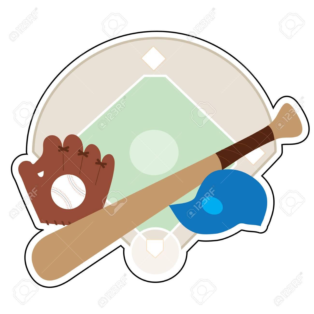 A baseball diamond,baseball bat,baseball cap and baseball mit on a background featuring a baseball diamond - 60714580
