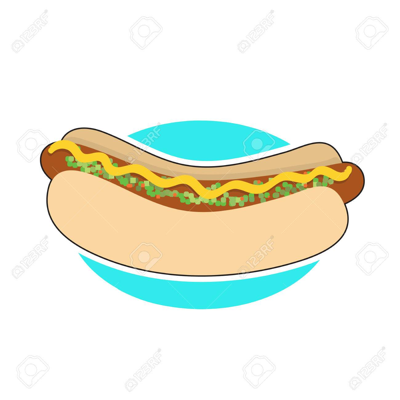 A hot dog in a bun with mustrad and relish - 66528656