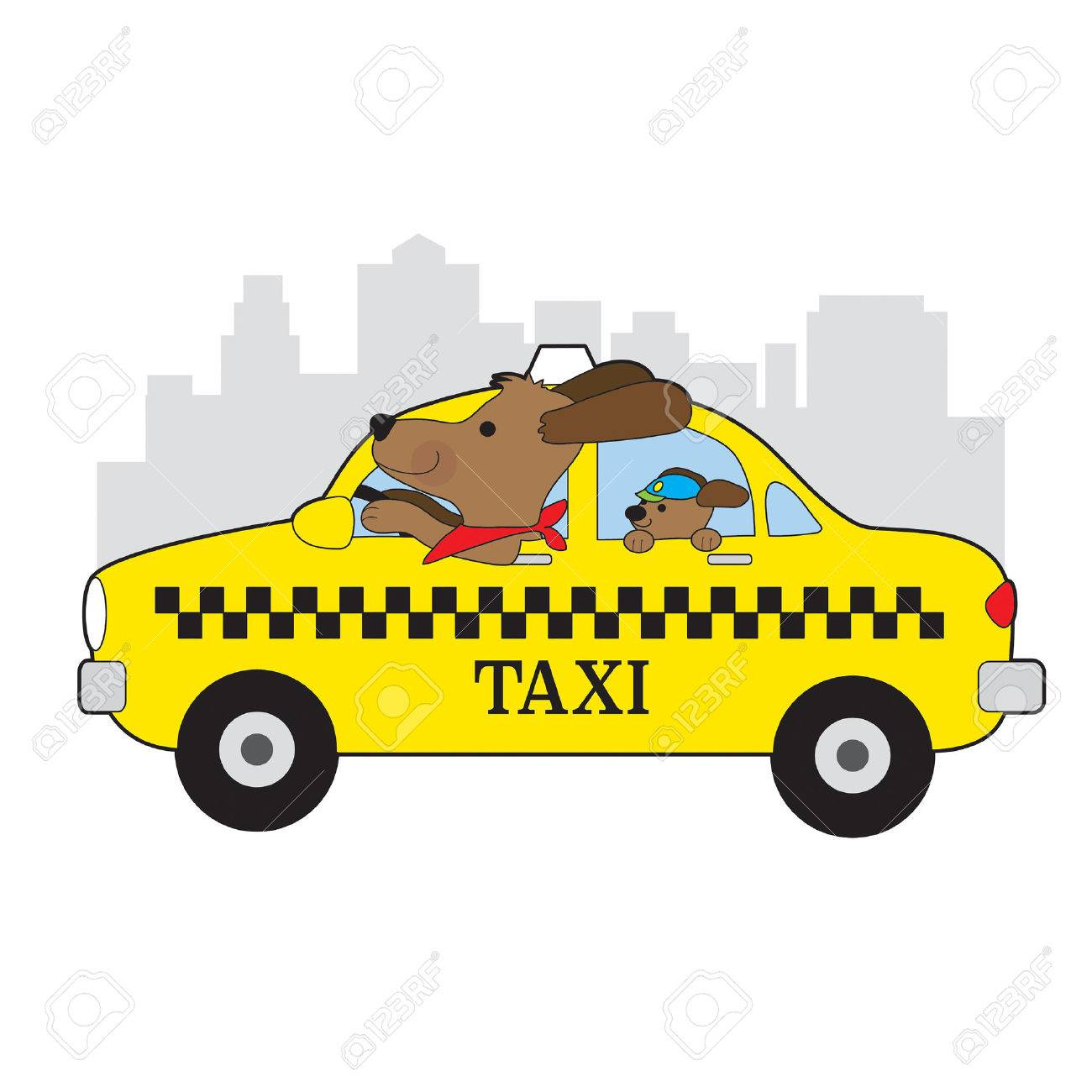A dog is driving a taxi in New York. His child is riding in the back seat - 75229195