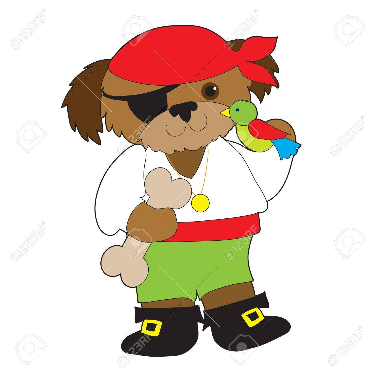 A dog dressed as a pirate has a parrot on one shoulder and is holding a large dog bone - 75731358