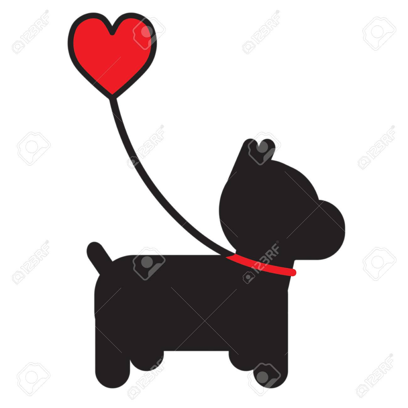A silhouette of a little black dog on a leash that has a heart for a handle - 77425899