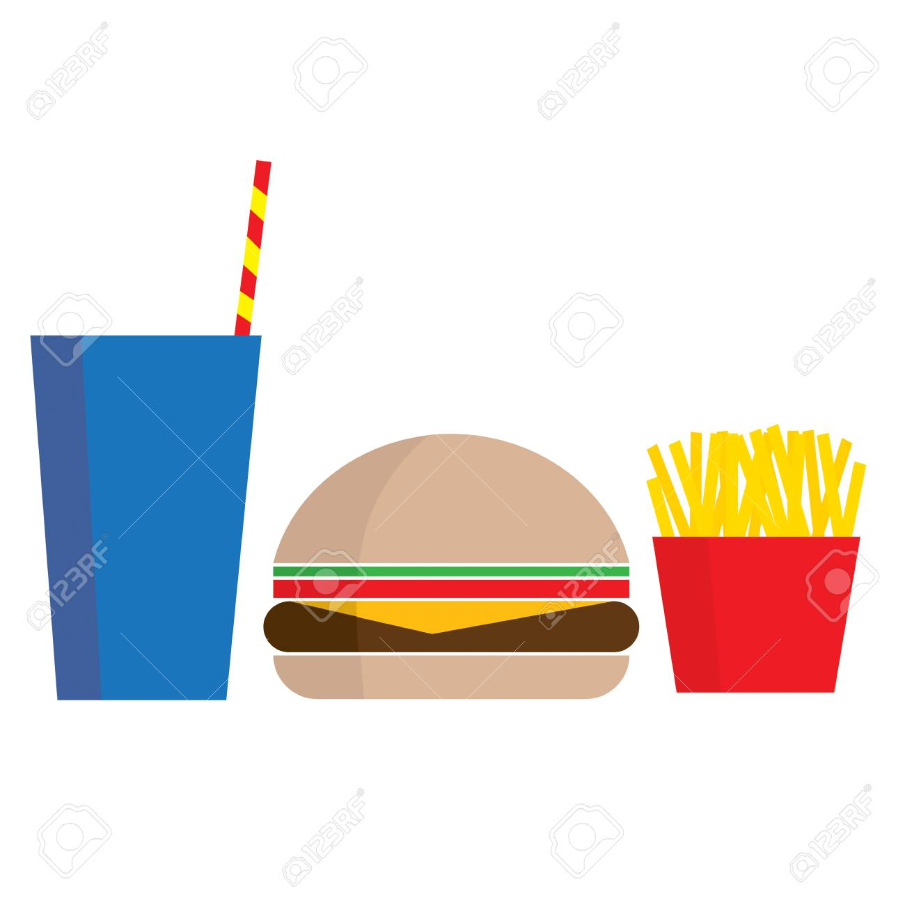 A stylized graphic of a drink hamburger and fries - 77511542