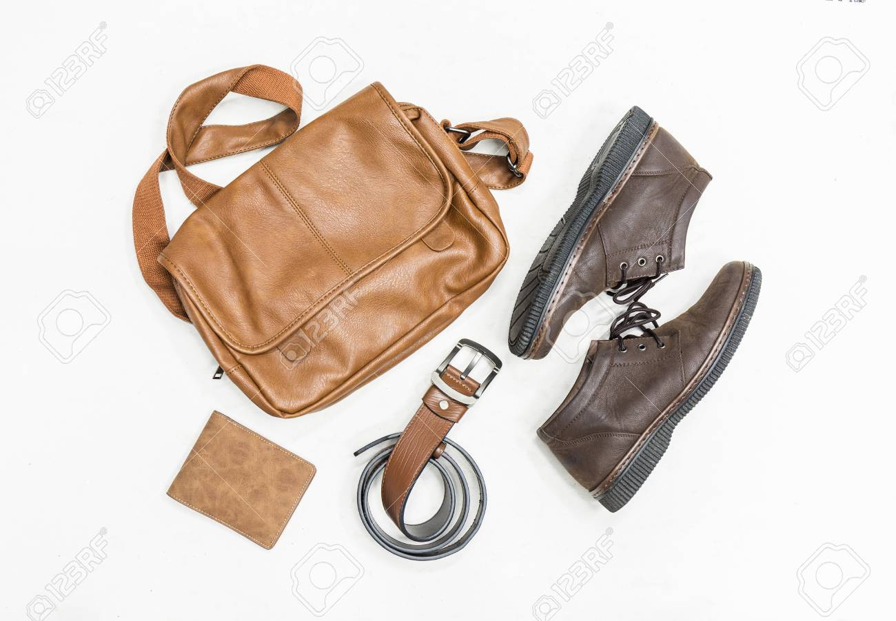 4d1db880c5 Stock Photo - Top view set of clothes for men leather shoes