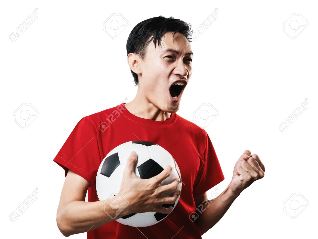 Asian Thai people soccer fan football in red sleeve shirt isolated on white background high contrast. - 103967924