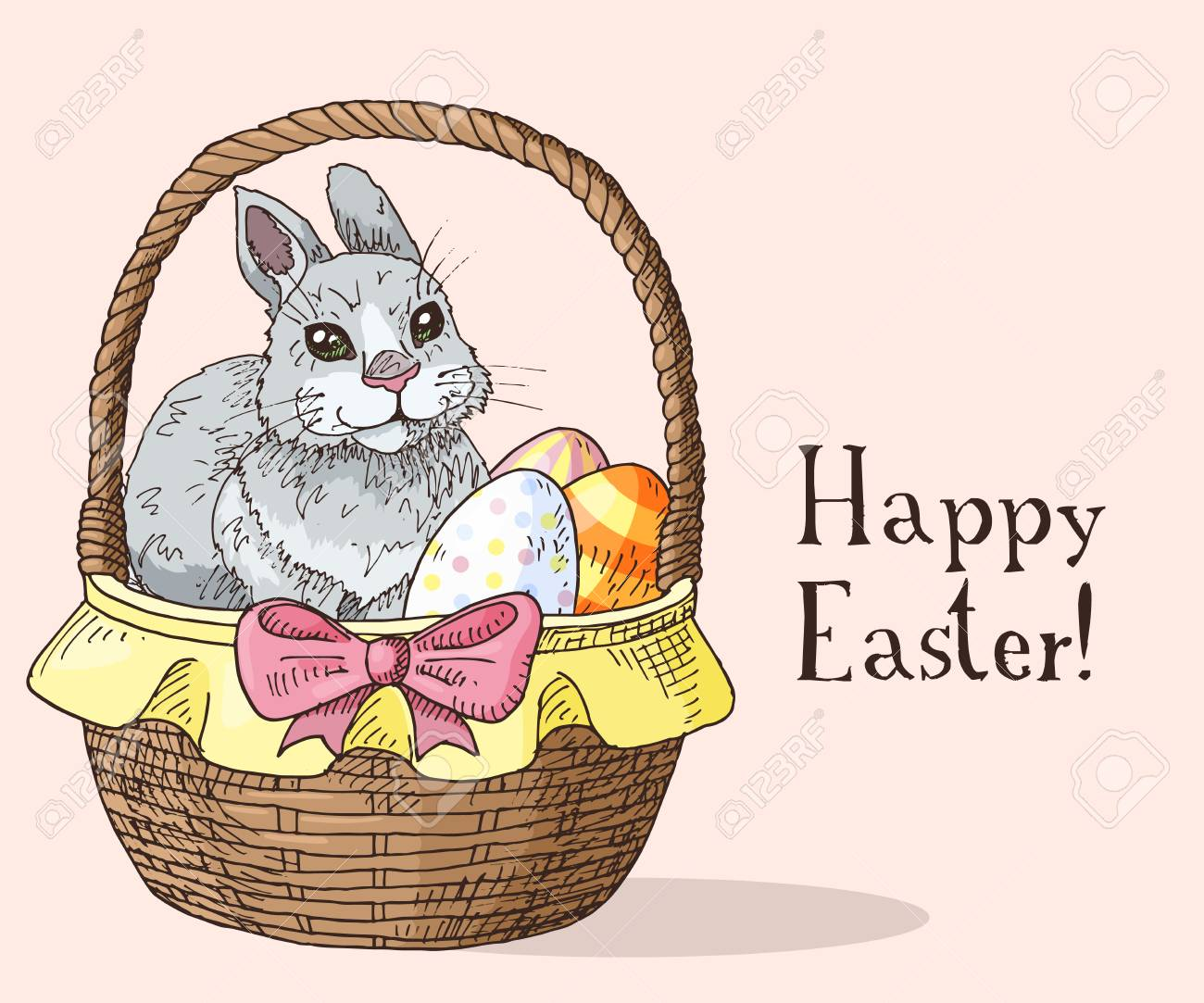 Hand drawn easter gift card with funny rabbit and easter eggs hand drawn easter gift card with funny rabbit and easter eggs in the basket greate negle Gallery