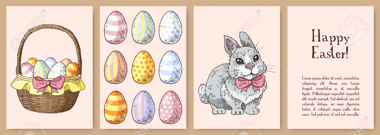 Set of hand drawn easter gift cards cards with funny rabbit set of hand drawn easter gift cards cards with funny rabbit with the bow tie negle Gallery