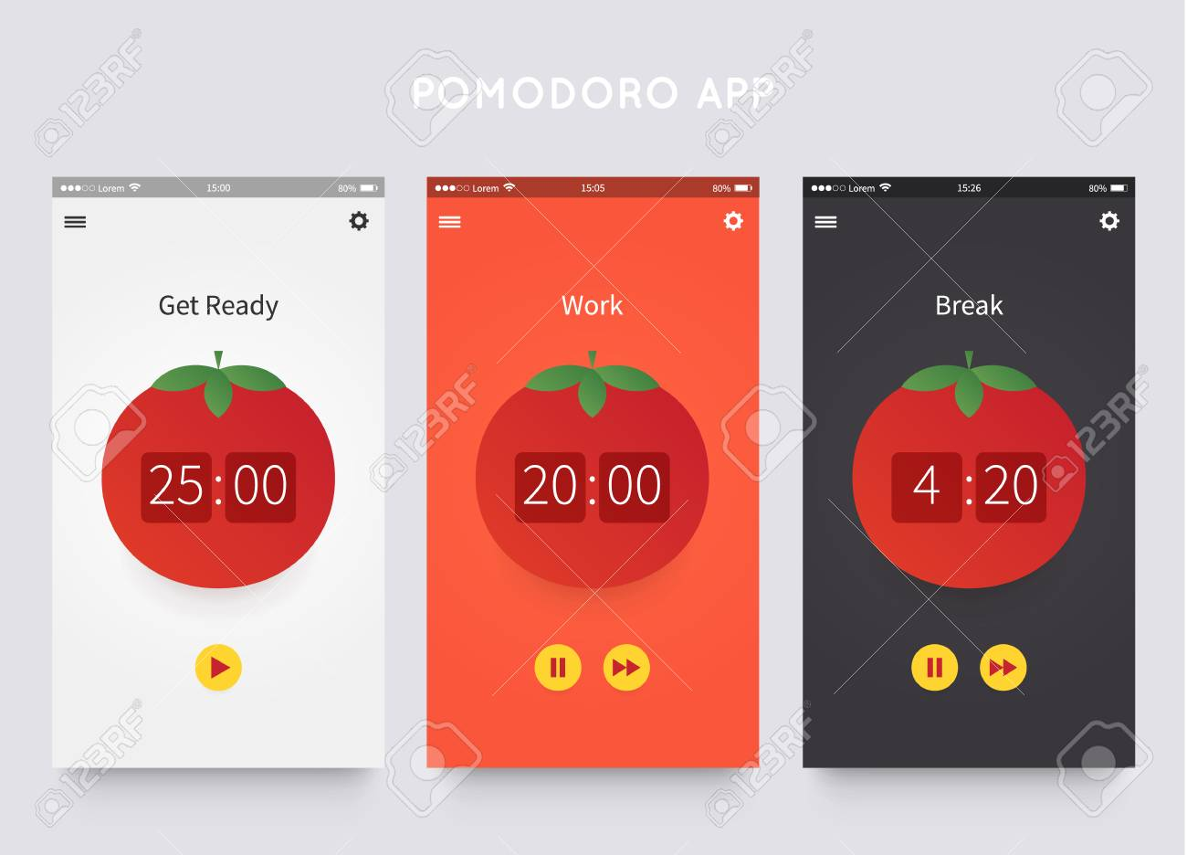 pomodoro technique app ui design template with pomodoro clock