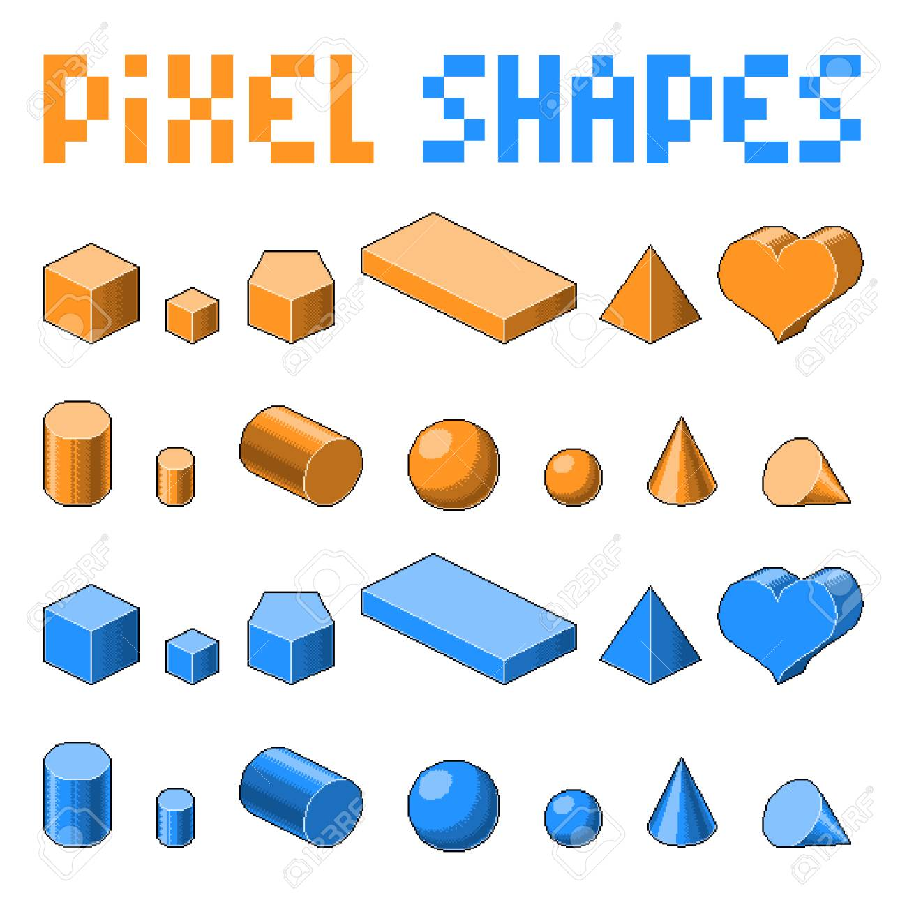 105817444-collection-of-pixel-art-3d-isometric-shapes-old-fashion-8-bit-game-orange-and-blue-colors Pixel Art 3d Game @koolgadgetz.com.info