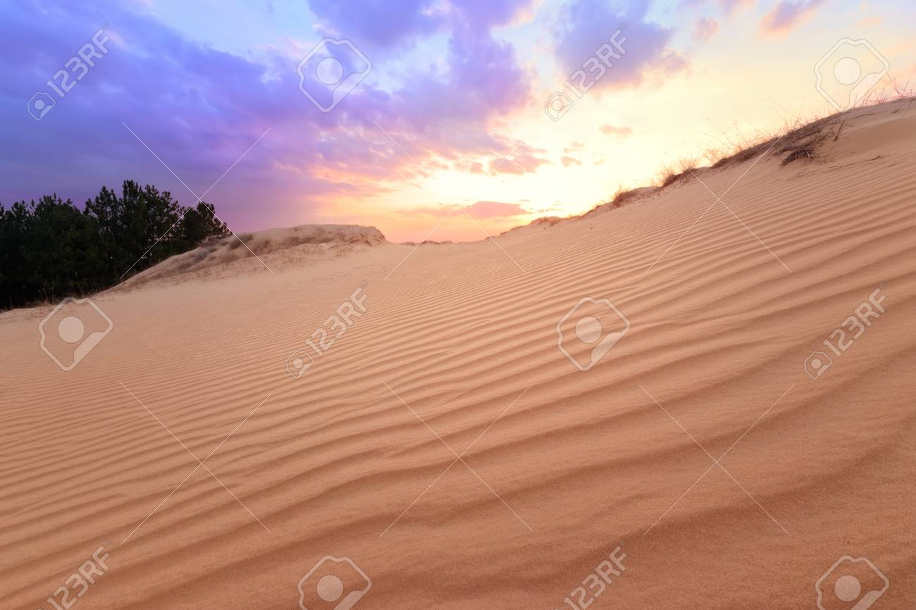 Spring Comes To Dunes >> Sunset On Sand Dunes Bright Colors Of Early Spring Stock Photo