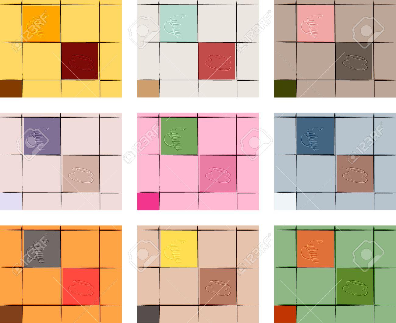 conjunto de paredes de la cocina de colores con azulejos decorativos de diferentes colores con