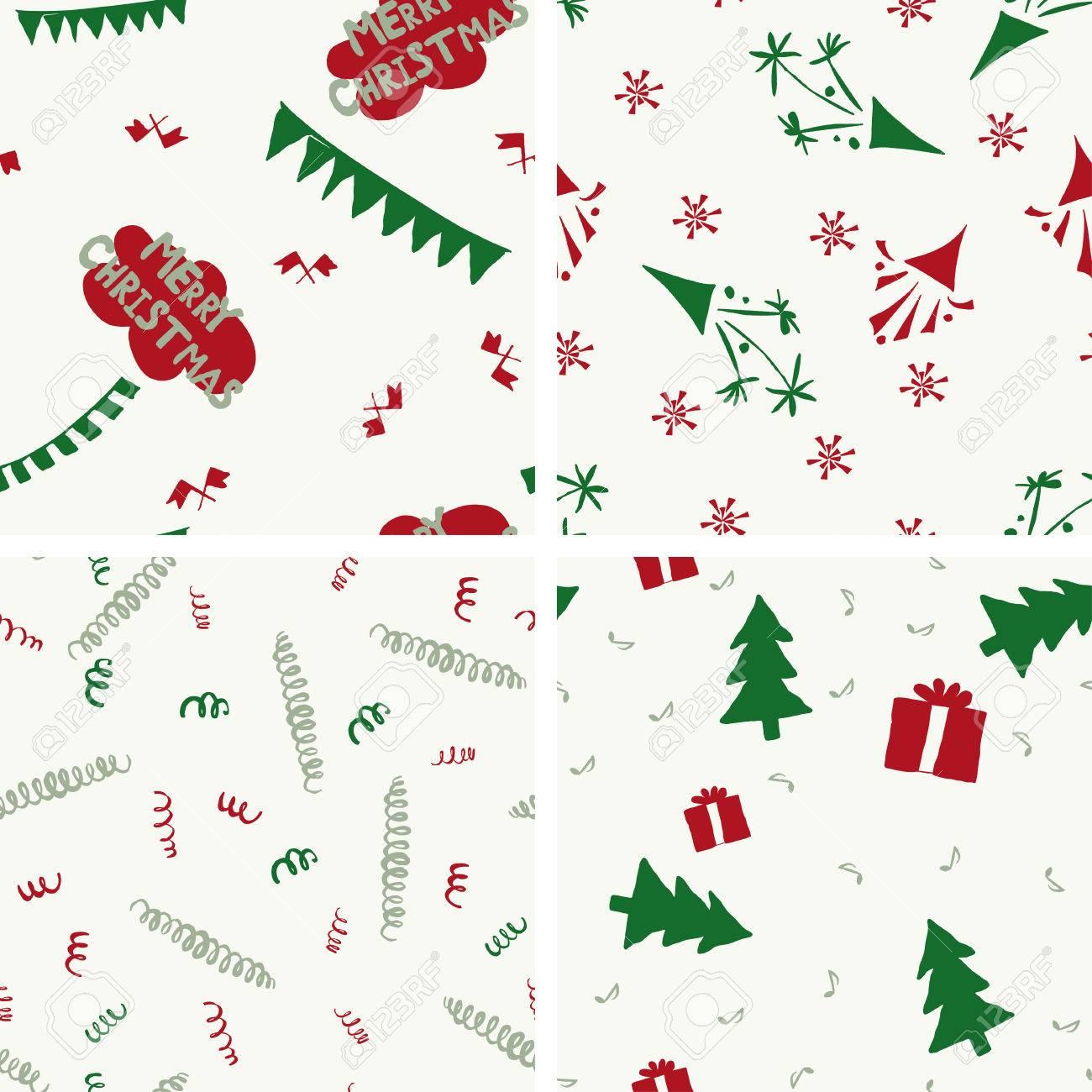 4 Patrones De Navidad Sin Costura, Colores Rojos Efecto Invernadero ...