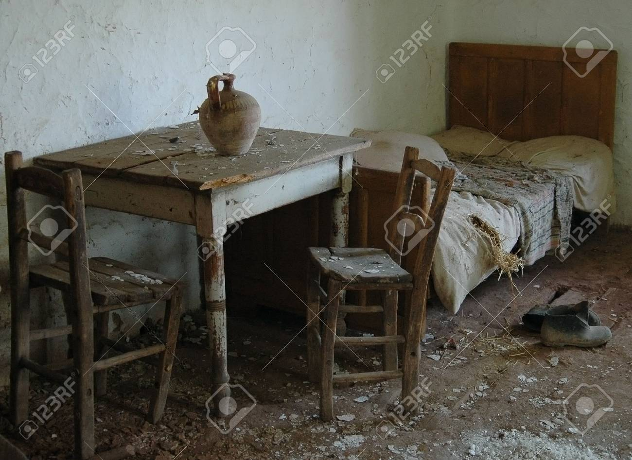 Interior Of An Old And Deserted Village Home Stock Photo 1807116