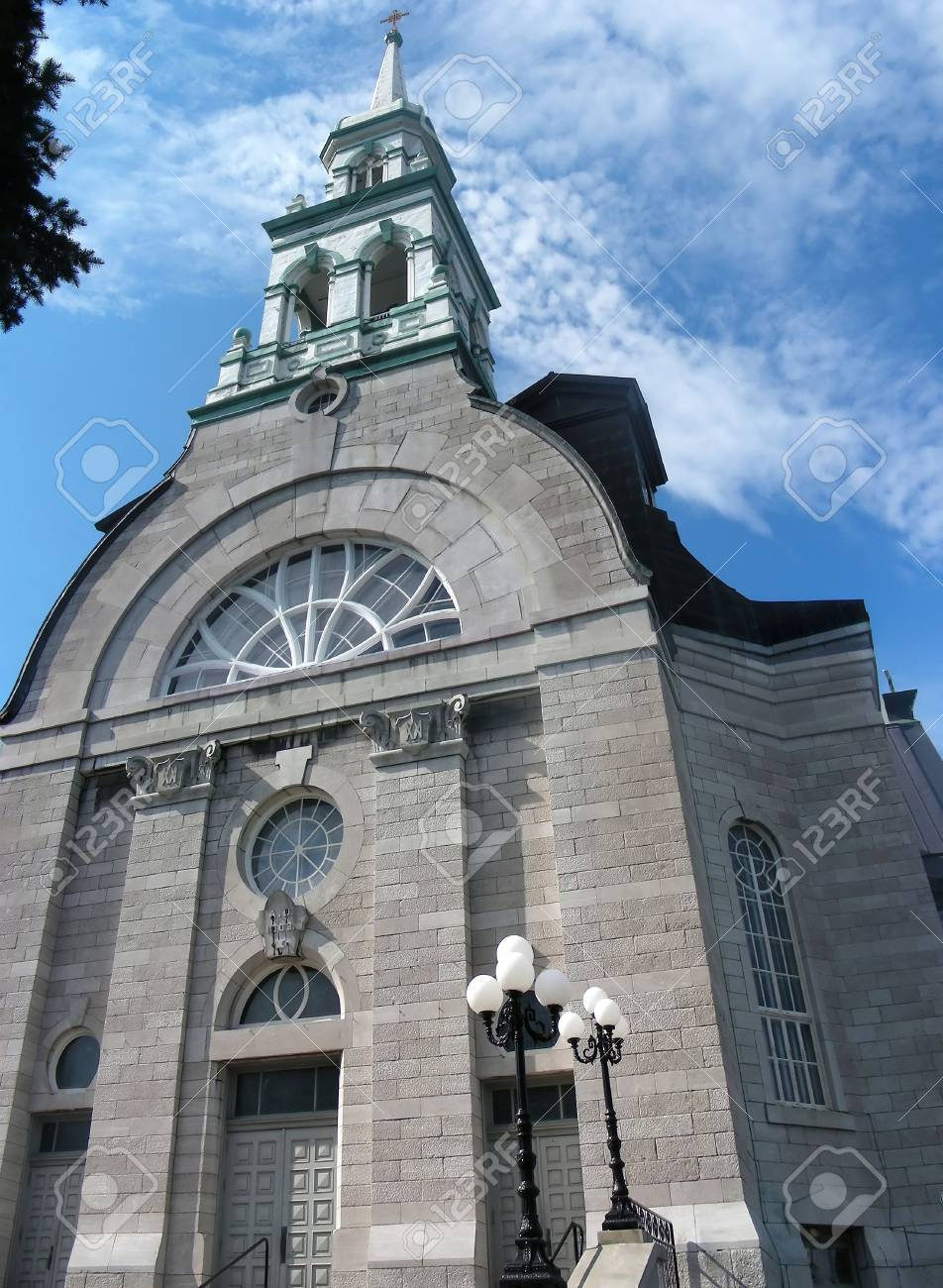 Pretty town church, with a very nice white steeple, Granby, Quebec. Stock Photo - 4223622