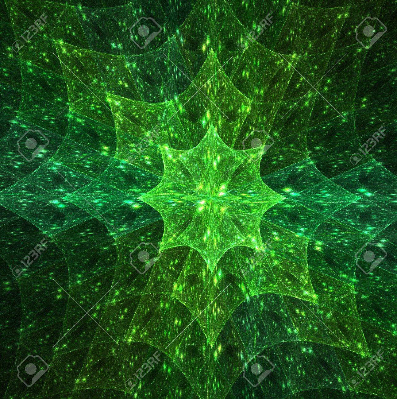A green star like flower on this fractal design. Stock Photo - 6222948