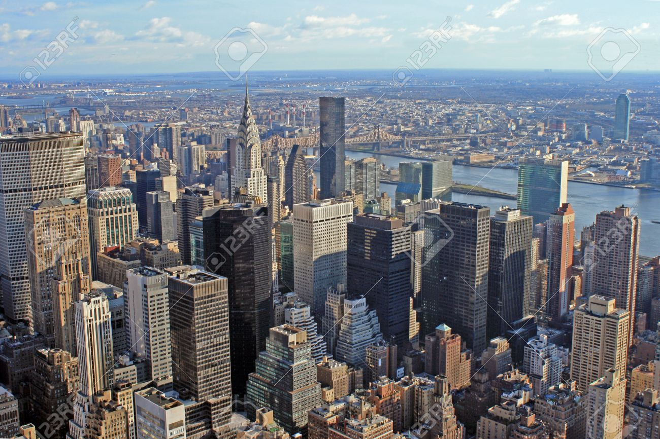 View Over New York Skyline By Day Seen From Rockefeller Center Stock