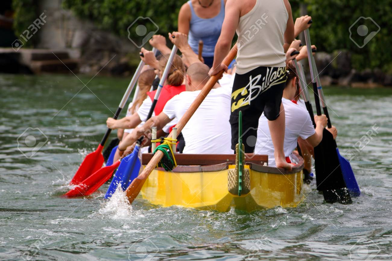 MEILEN - JUNE 12: Athletes fought hard for victory and had fun at the dragen boat racing festival June 12, 2010 in Meilen, Switzerland. Participants were also staff from institutes of EMPA and ETH Stock Photo - 7959782