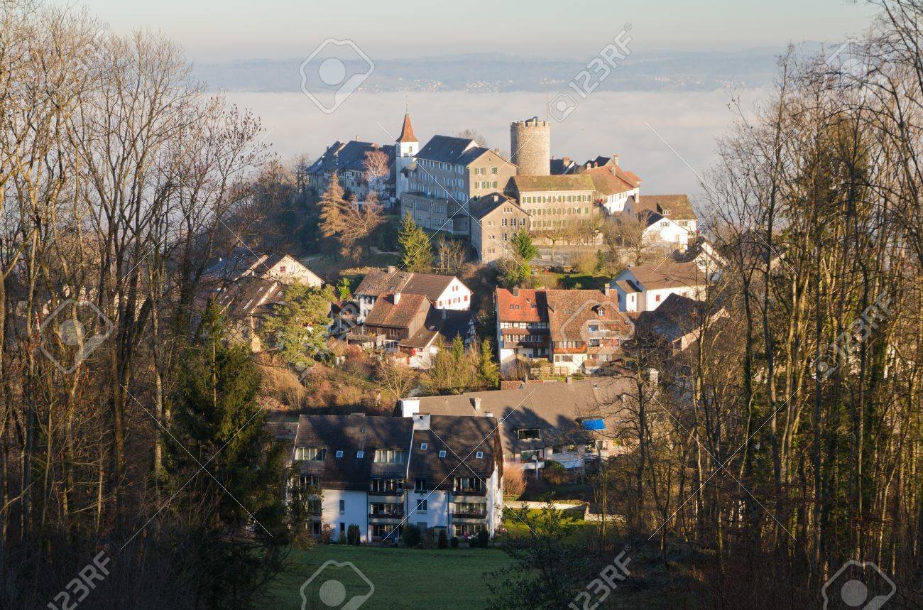 medieval town Regensberg situated on a hill with castle building framed by forest in warm afternoon light, Nothern Switzerland Stock Photo - 9141596