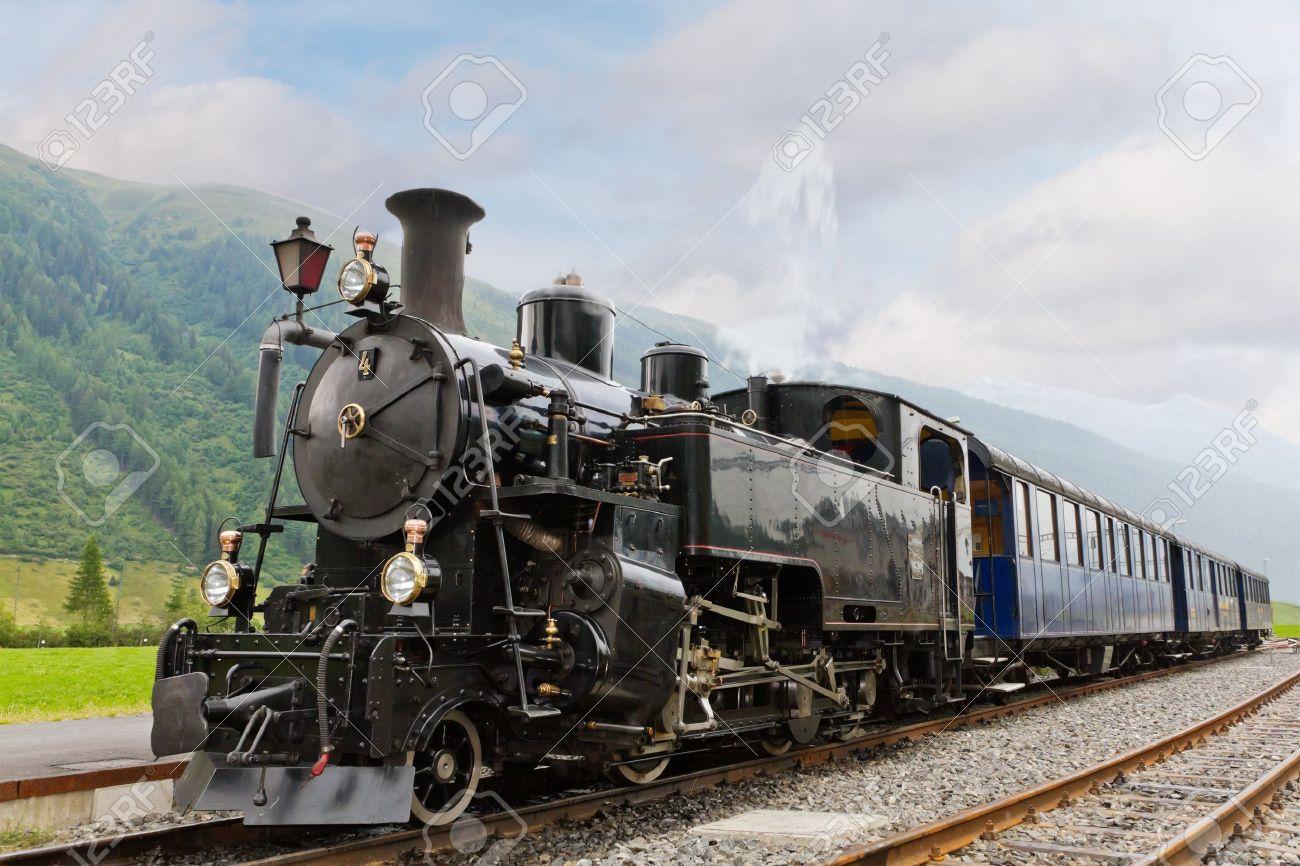 vintage black steam powered railway train Stock Photo - 12877203
