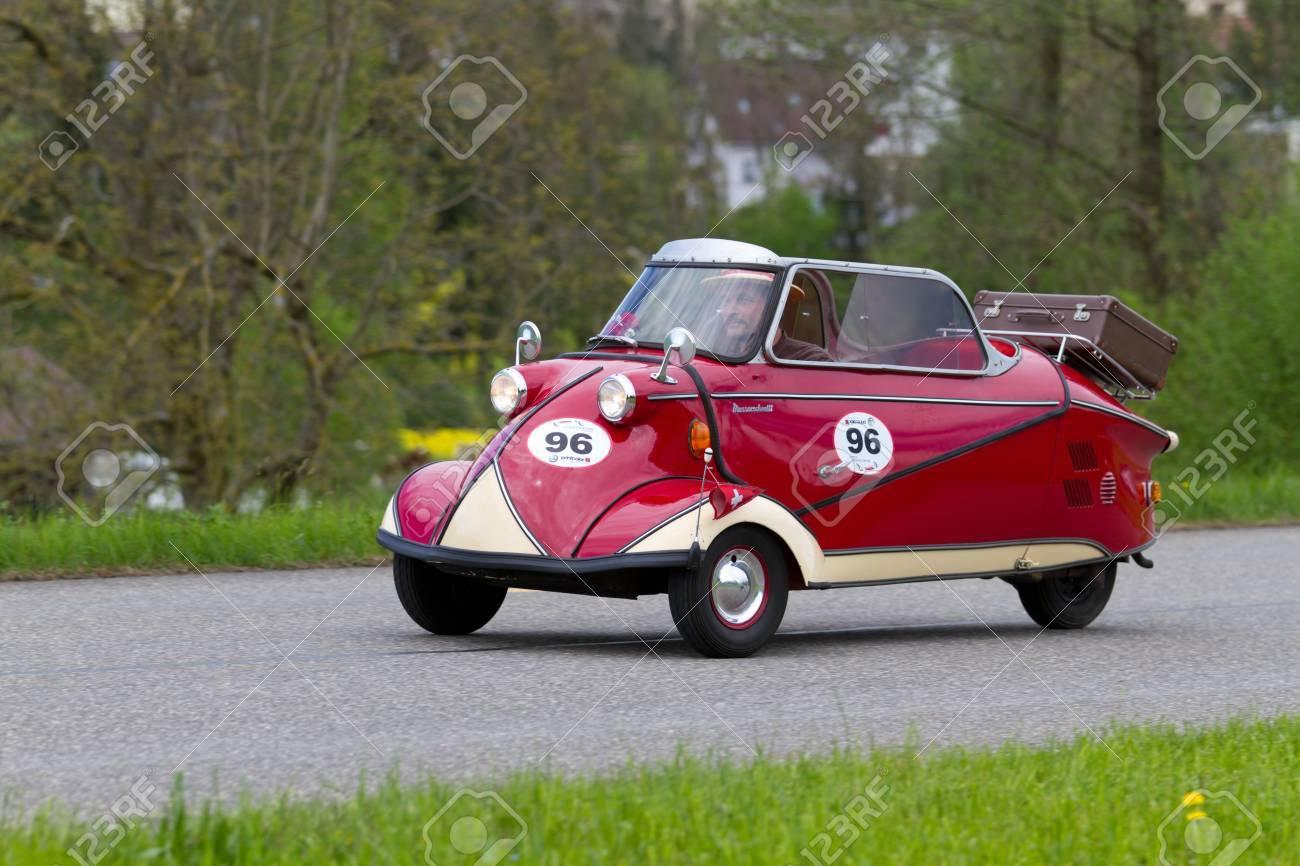 MUTSCHELLEN, SWITZERLAND-APRIL 29: Vintage car Messerschmitt KR 200 from 1955 at Grand Prix in Mutschellen, SUI on April 29, 2012.  Invited were vintage sports cars and motorbikes. Stock Photo - 13491362