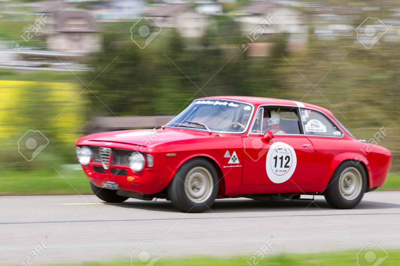 MUTSCHELLEN, SWITZERLAND APRIL 29: Vintage Race Touring Car Alfa Romeo  Giulia Sprint GT