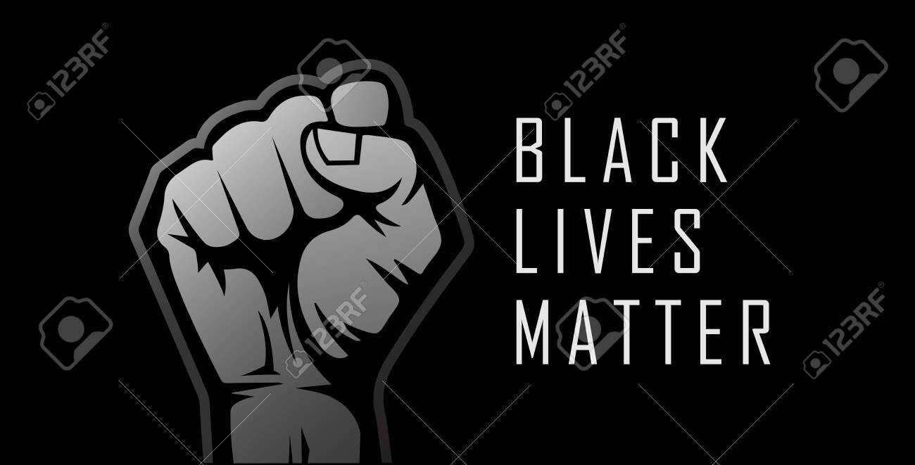 Black Lives Matter. Human hand raised in the air. Realistic style vector illustration. - 149548467