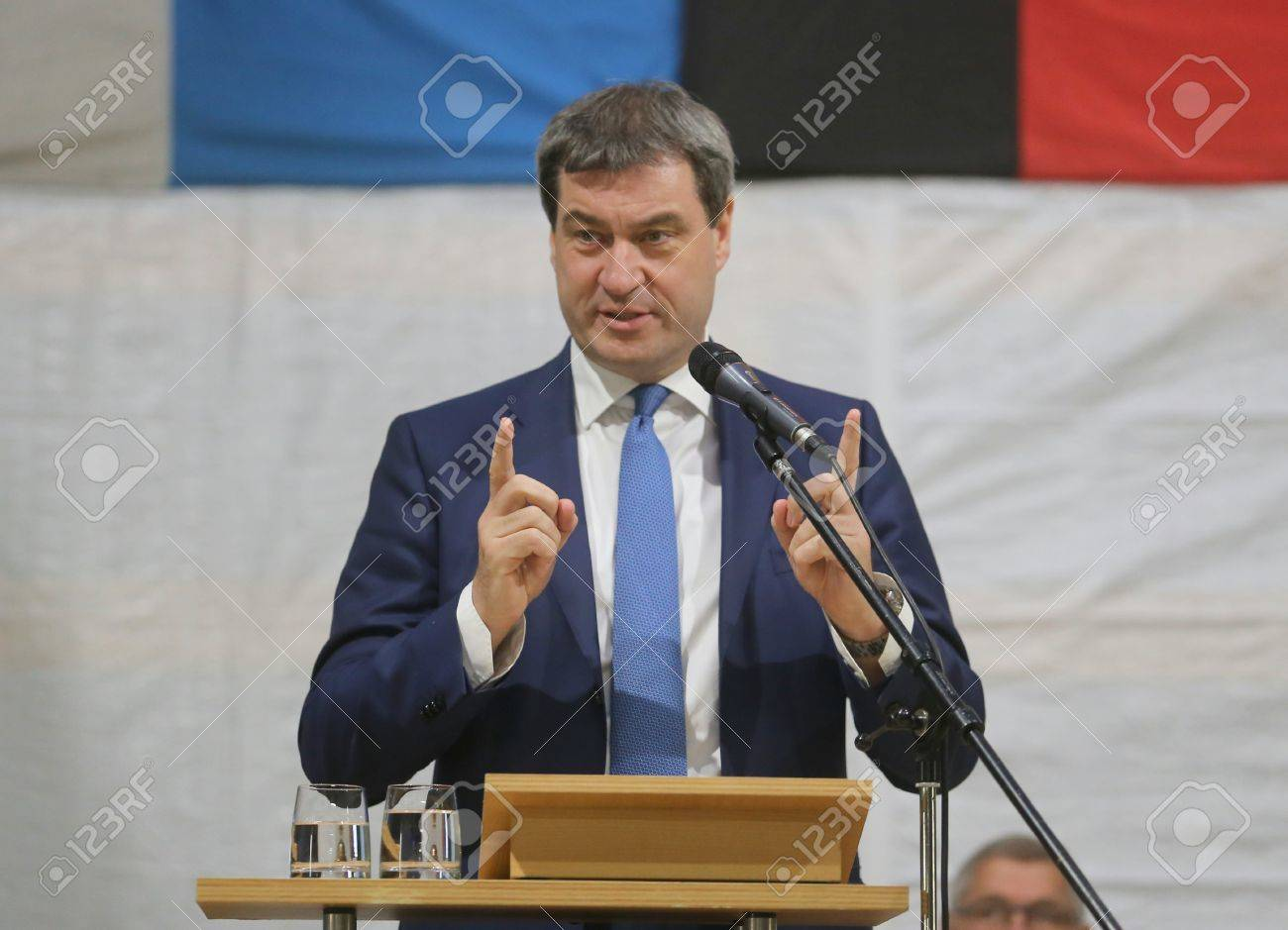 May 15, 2017 - Munich, Germany - Markus Soeder, CSU, Bavarian Minister of State for Finance, for Country Development and Home at a topping-out ceremony of a government building Standard-Bild - 86160244