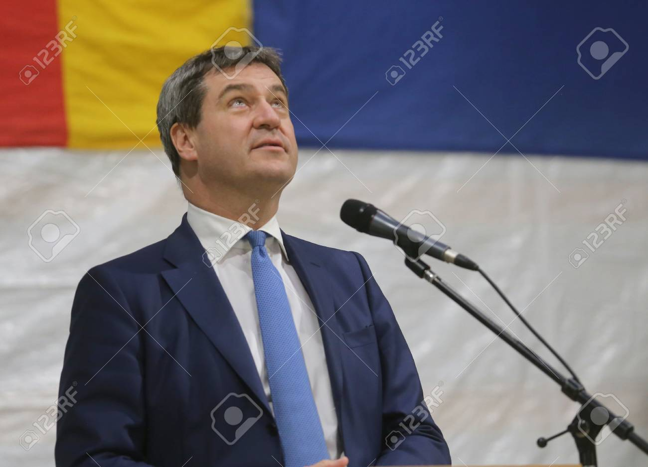 May 15, 2017 - Munich, Germany - Markus Soeder, CSU, Bavarian Minister of State for Finance, for Country Development and Home at a topping-out ceremony of a government building Standard-Bild - 86160246