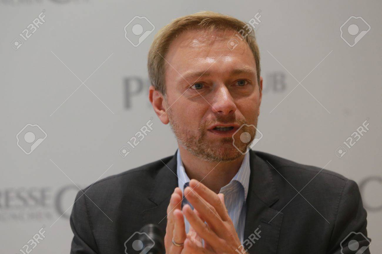 September 19, 2017 - Munich, Germany - Christian Lindner, top candidate FDP party to the 2017 Bundestag elections visiting International PressClub Munich Standard-Bild - 86344121