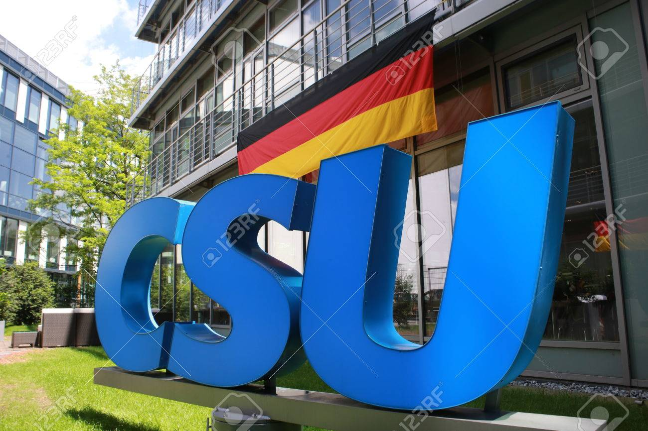June 27, 2016 - Munich (Germany) - logo and brand of the party Christian Social Union CSU (in the courtyard of the CSU building) Standard-Bild - 86347919