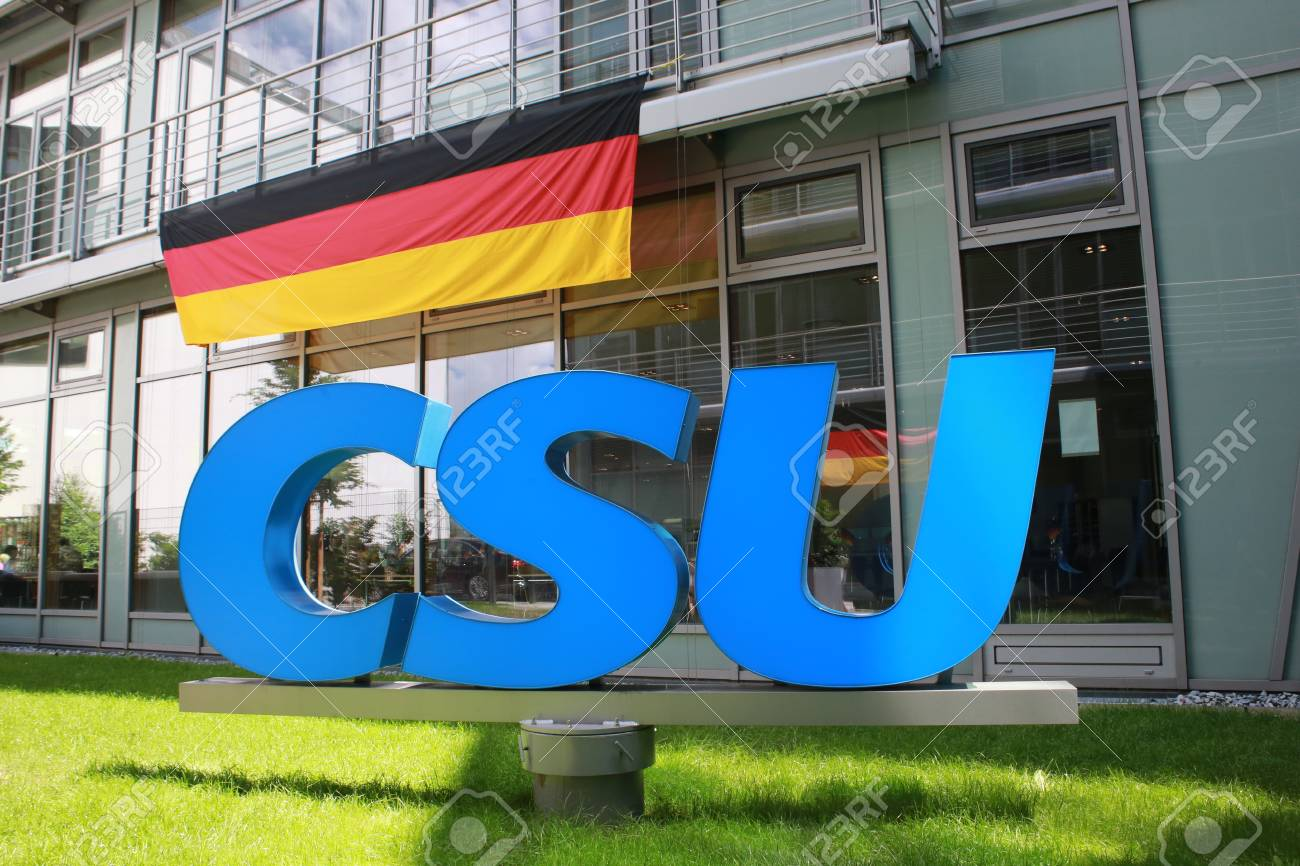 June 27, 2016 - Munich (Germany) - logo and brand of the party Christian Social Union CSU (in the courtyard of the CSU building) Standard-Bild - 86347920