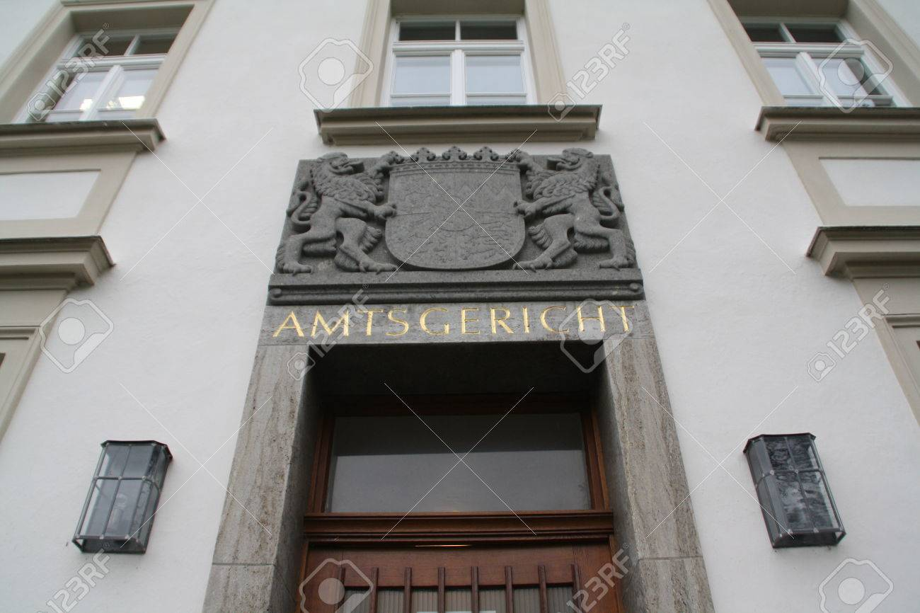 April 4, 2014 - Landsberg (Germany) - Entrance to the District Court of the City of Landsberg in Germany Standard-Bild - 86347923