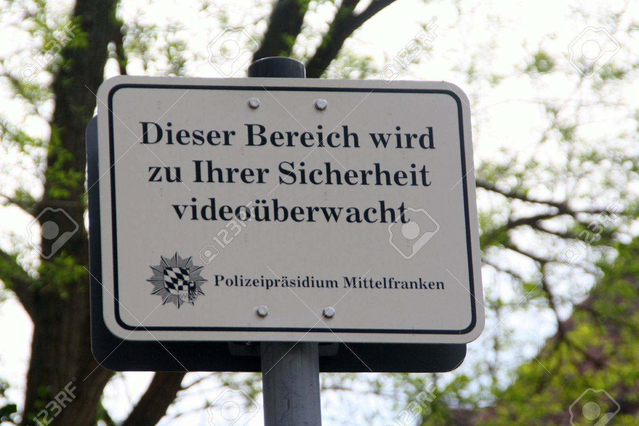 April 2007, 29 - Nuremberg, Germany - Warning Sign (This area is video-monitored for your safety) of Middle Franconia Police Department Standard-Bild - 86460479