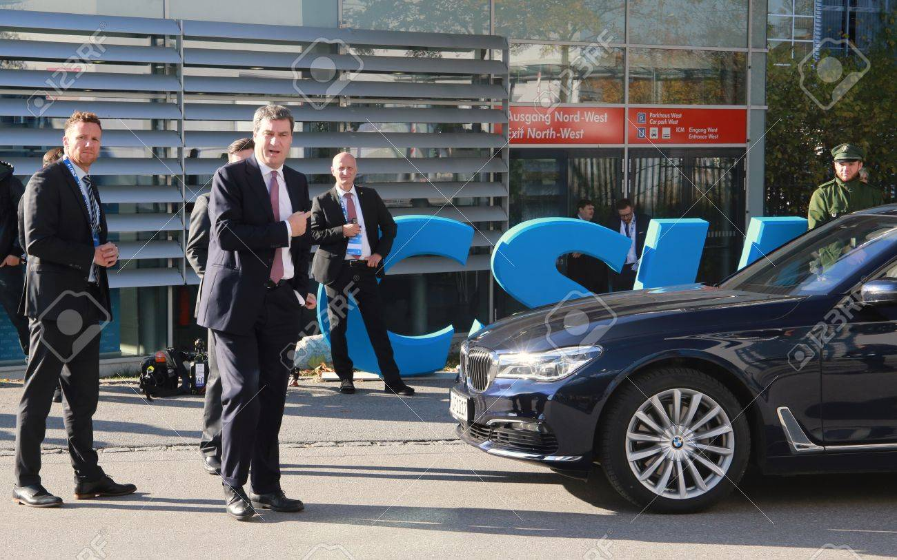 November 4, 2016 - Munich, Germany - CSU party convention: the arrival of Markus Soeder, Minister of Finance and Home of Bavaria Standard-Bild - 86462162