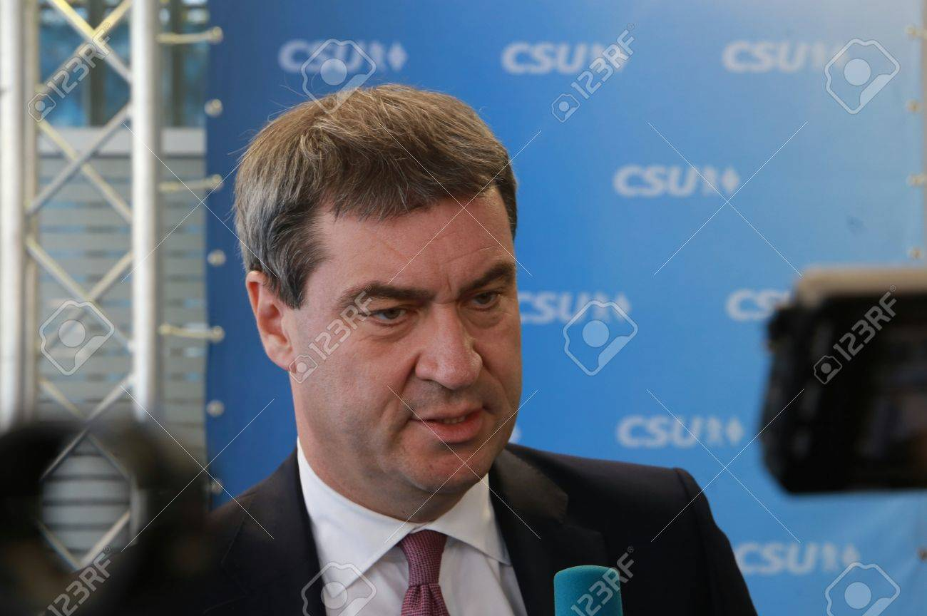 November 4, 2016 - Munich, Germany - CSU party convention: Markus Soeder, Minister of Finance and Home of Bavaria Standard-Bild - 86462163