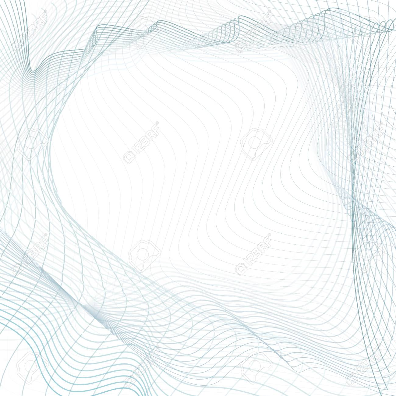Abstract Line Art Design Light Blue Gray Waves On White Background