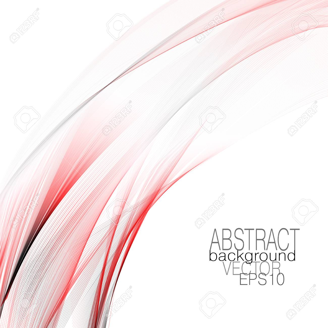 Art template with red, gray waving curved lines. Flowing veil imitation. Modern abstract design element. Vector colored lines background. Layout for brochure, book, cover, poster, leaflet, flyer, card. EPS10 illustration - 114054744