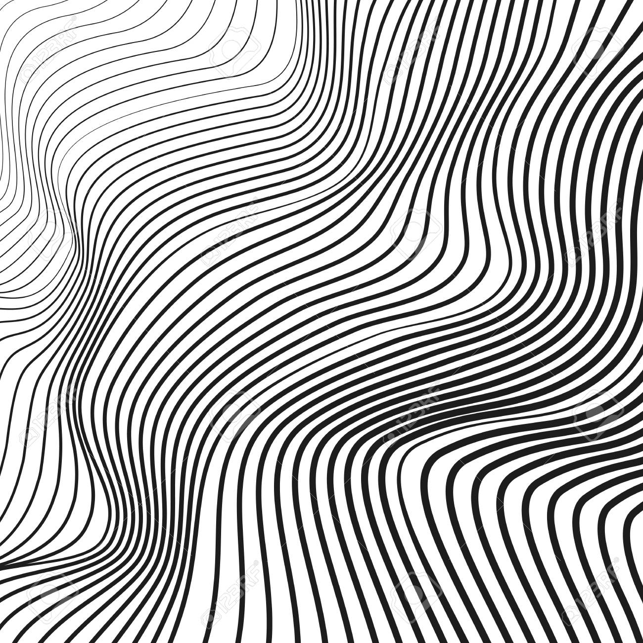 Black And White Wave Pattern Vector Squiggle Waving Dynamic