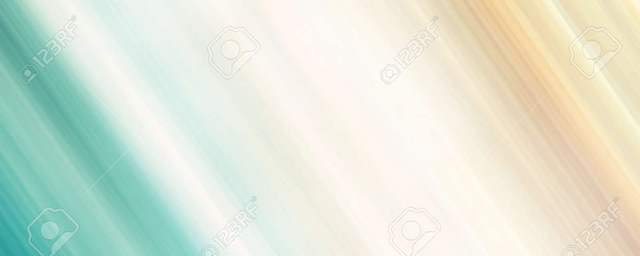 Turquoise green, beige, orange diagonal strips. Abstract panoramic background with soft gradient. Pastel colored speed lines. Blurry surface. Modern design for web banner, website, wallpaper, landing page, poster, certificate, gift card - 158407719
