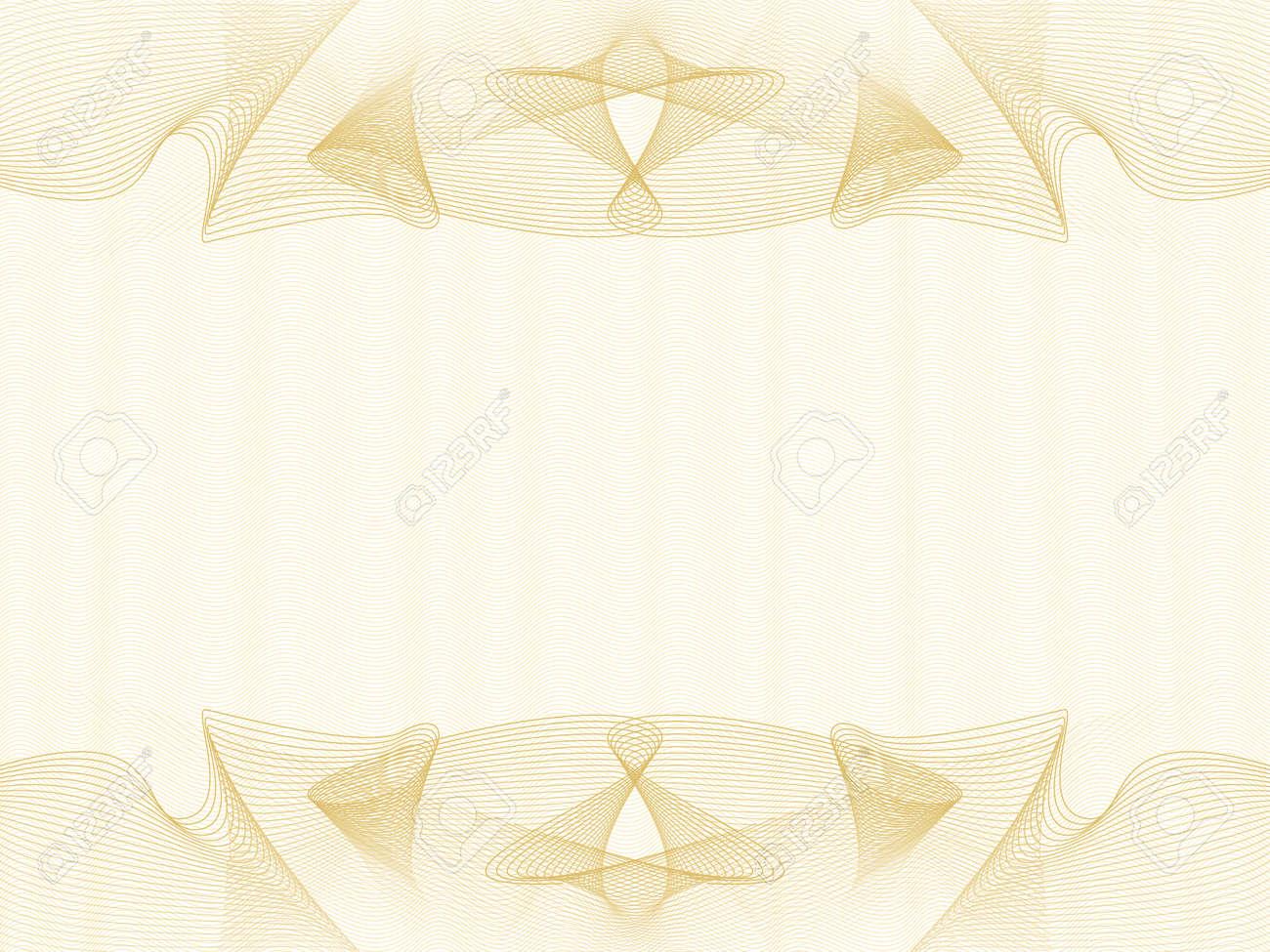 Stylish golden line art background for certificate, diploma, passport, gift card. Elegant vignette design. Pastel abstract watermark, guilloche pattern. Vector draped net. Template A4, landscape orientation. illustration - 159446270