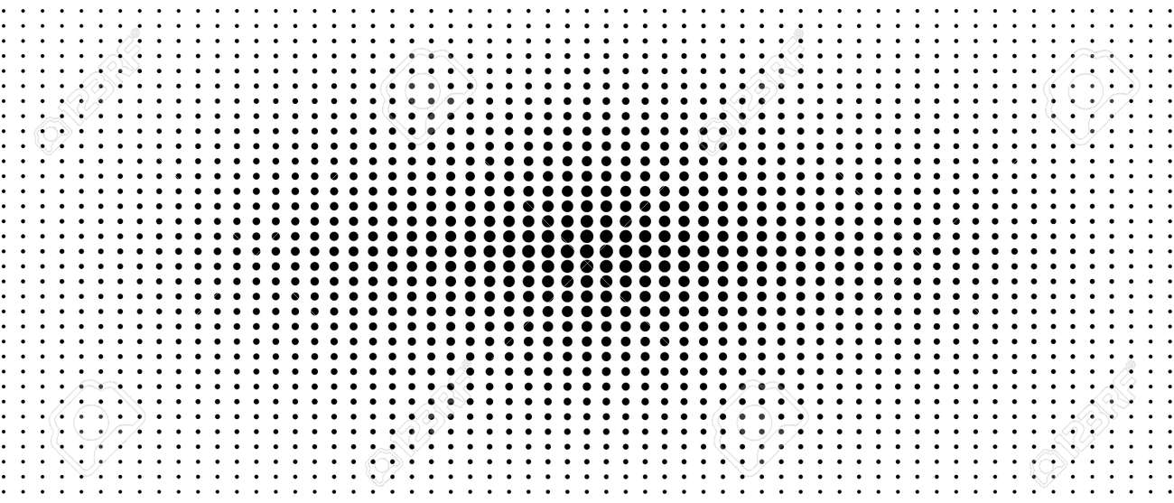 Symmetrical halftone pattern. Audio equalizer concept. Black spots on a white background. Vector monochrome dotted straight lines. Abstract digital graphic. Technology design. Optical illusion. EPS10 illustration - 161748031