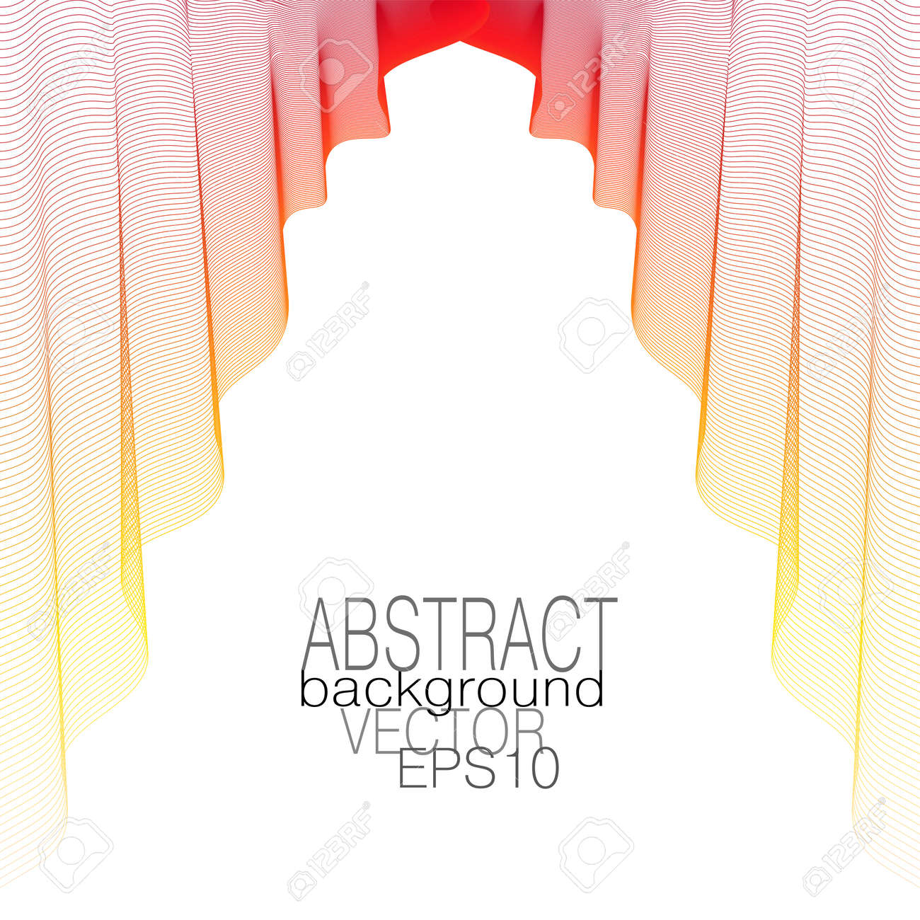 Bright red, yellow silk textile hangs down in elegant folds. Thin lightweight flowing fabric. Multicolored draped veil on a white background. Theater curtain concept. Line art design. Vector abstract pattern. Subtle curves. EPS10 illustration - 162016151