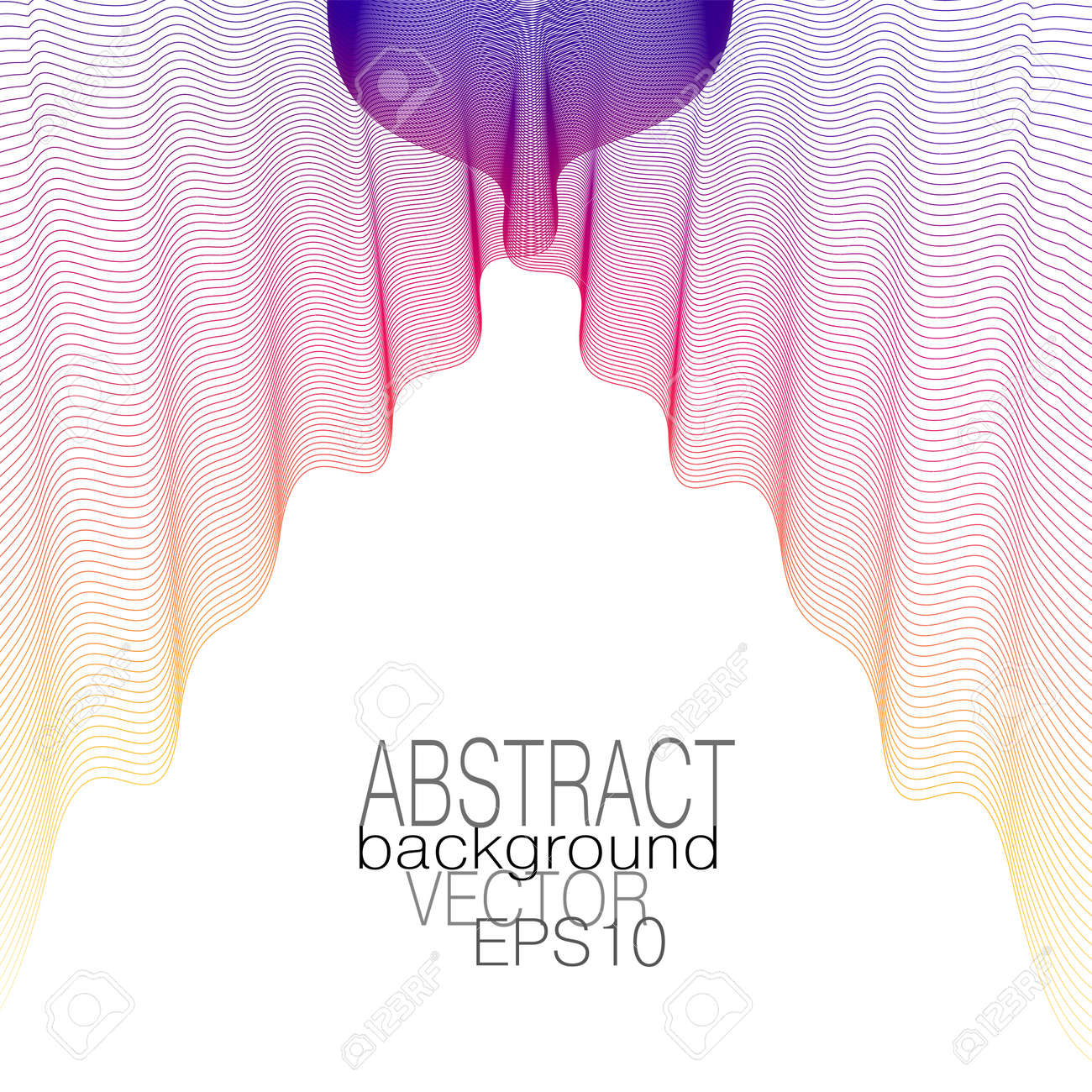 Purple, deep pink, yellow veil hangs down in beautiful folds. Elegant flowing fabric. Multicolored draped textile on a white background. Theater curtain concept. Line art design. Vector abstract pattern. Subtle curves. EPS10 illustration - 162016152