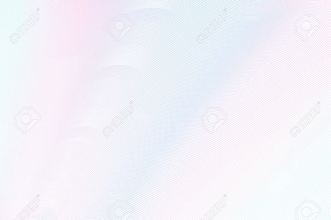 Soft pink, blue zigzag pattern for watermark. Guilloche design. Wavy lines. Thin curves. Soft gradient. Vector abstract background for passport, money, banknote, diploma, certificate. EPS10 illustration - 162731252