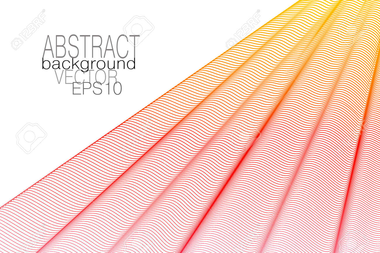 Red, yellow pleated net. Draped curtain, white background. Thin wavy lines, squiggle curves. Vector abstract wave pattern. Elegant design. Template for business card, book cover, poster, landing page. EPS10 illustration - 163418952