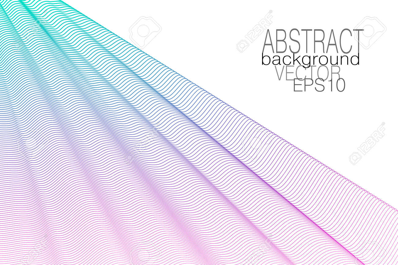 Turquoise, purple draped net. Colored curtain, white background. Subtle wavy lines, squiggle curves. Vector abstract wave pattern. Elegant design. Template for business card, book cover, poster, landing page. EPS10 illustration - 163418957